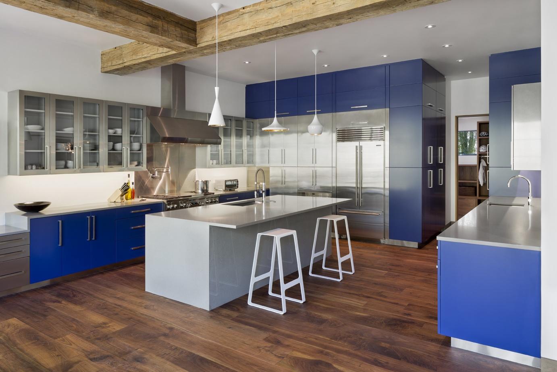 Modern Kitchen Stainless Blue Bliss